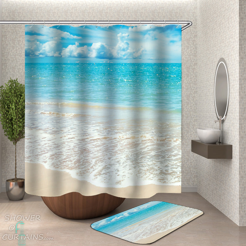 Quiet Beach Shower Curtain and Beach Bath Mat