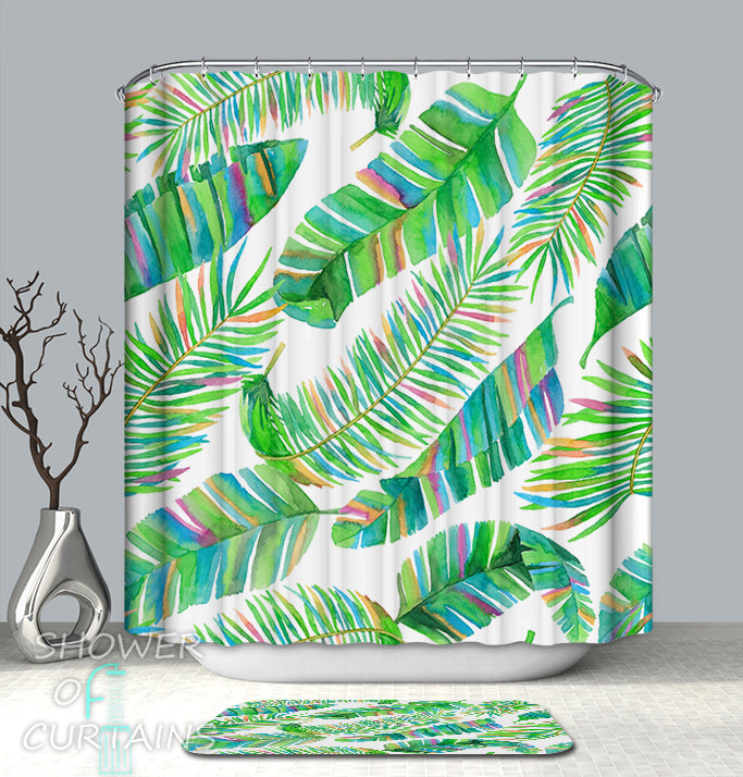 Rainbow Tropical Shower Curtains of Rainbow Palm Leaves