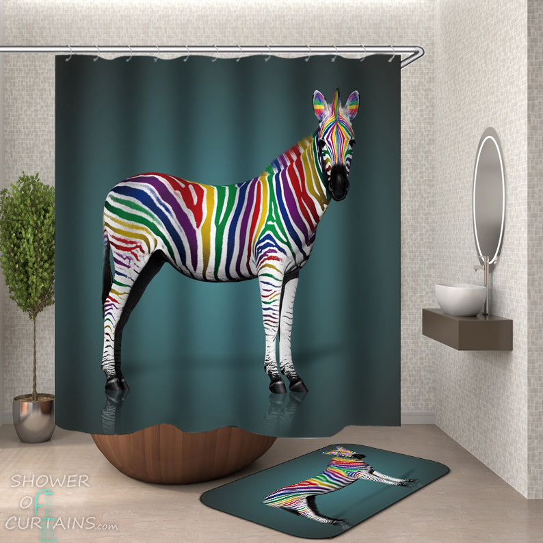 Rainbow Zebra Shower Curtain