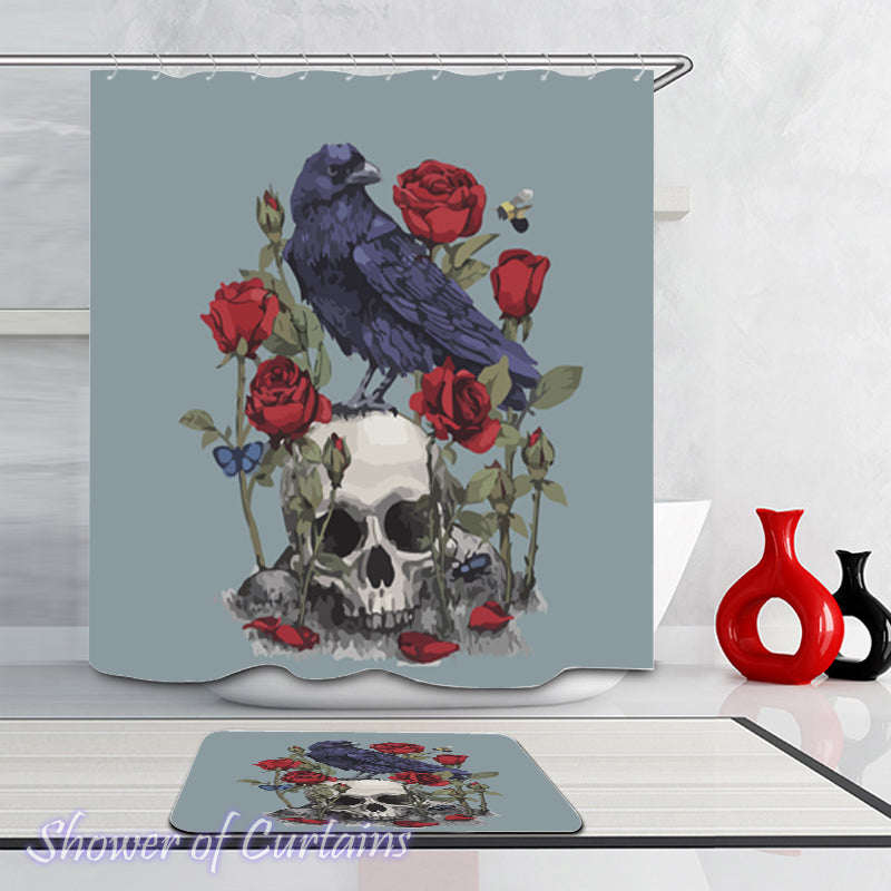 Raven Shower Curtain - Raven Skull And Roses - Skull Bathroom Decor