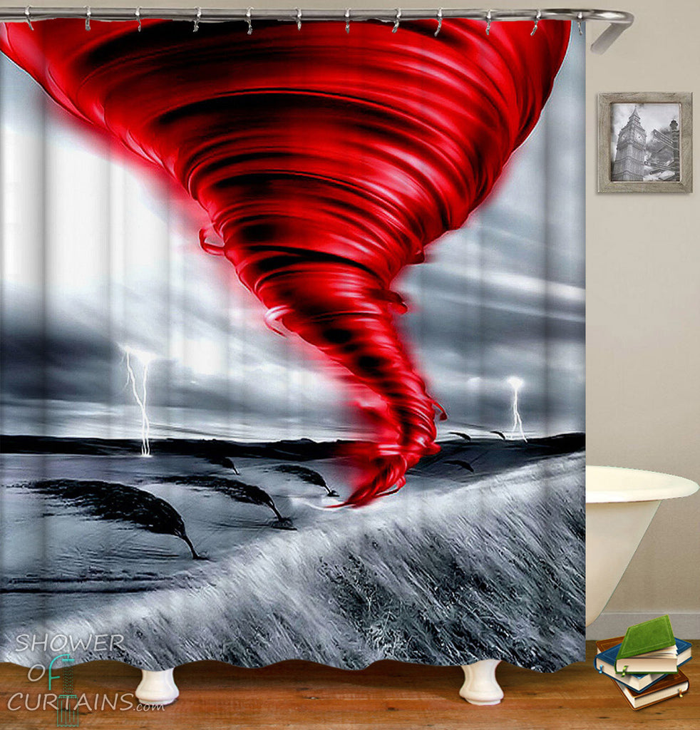 Red And Grey Twister Shower Curtains