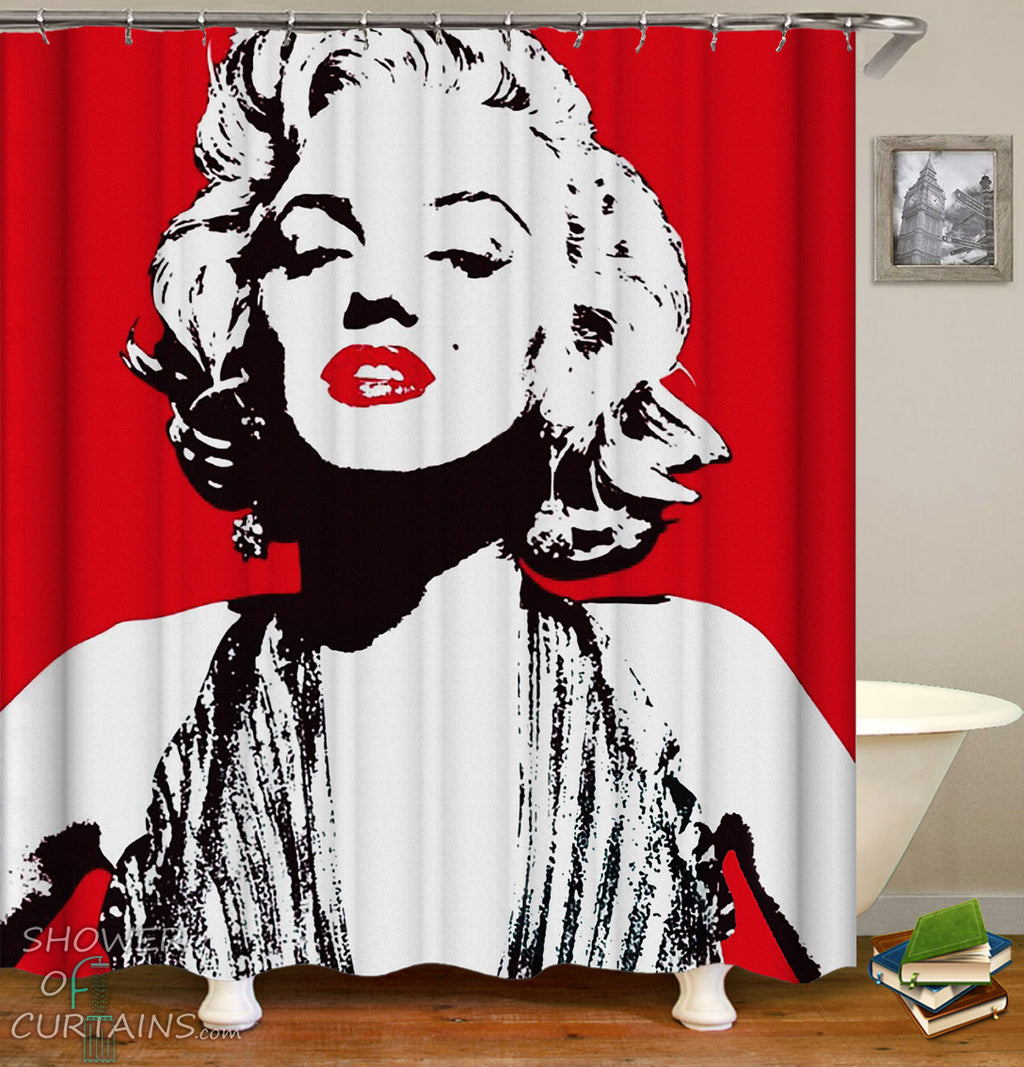 Red And White Marilyn Monroe Shower Curtain - New Marilyn Monroe bathroom Look