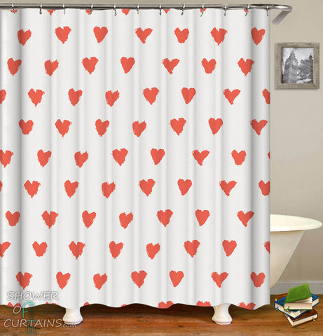 Red Heart Pattern Shower Curtain - Red Hearts