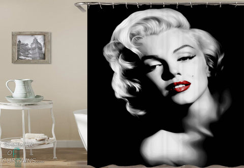 Red Lips Black And White Marilyn Monroe Shower Curtain