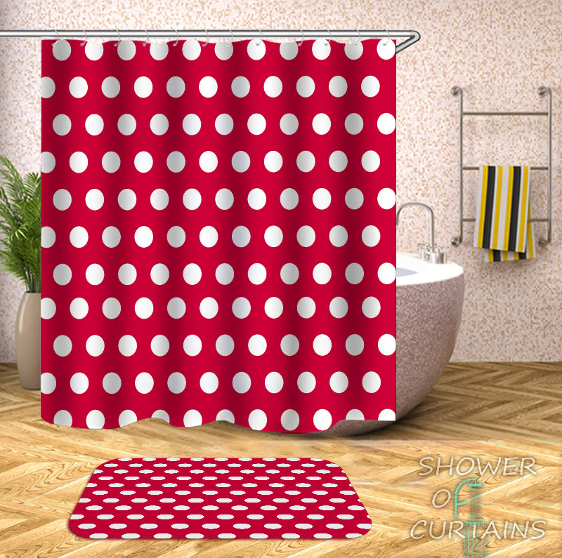 Red Shower Curtain - Red Background Polka Dot