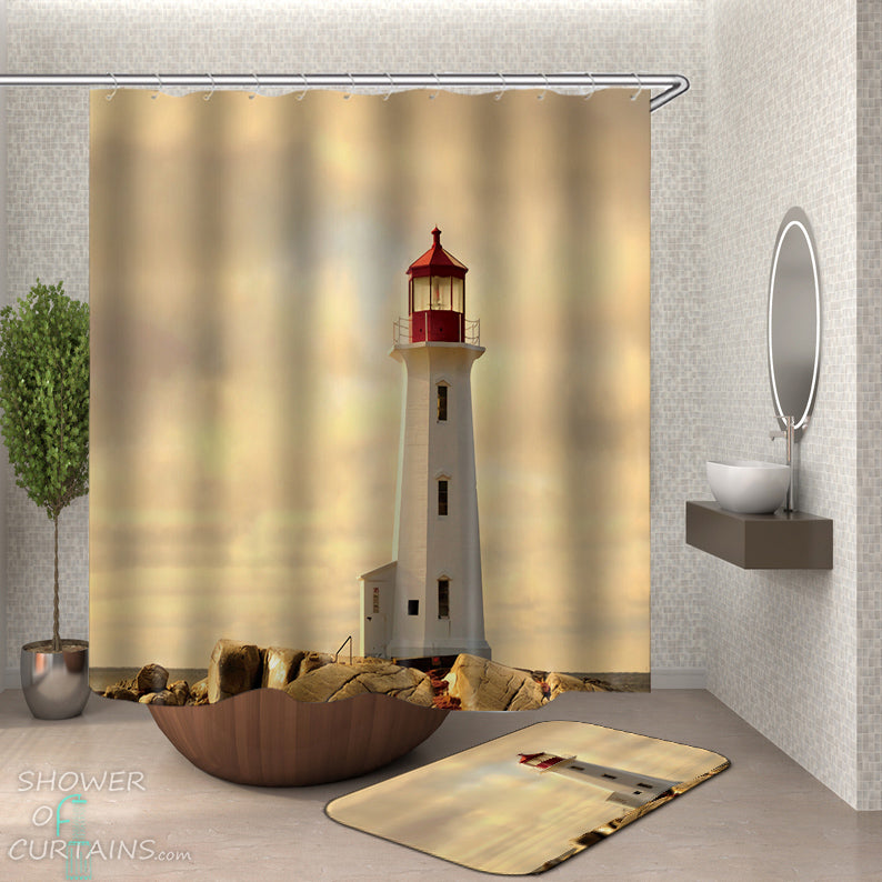 Red Top Lighthouse Shower Curtain - Nautical Bathroom Decor