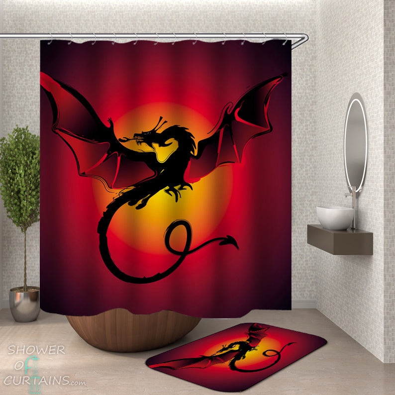 Reddish Dragon Shower Curtain