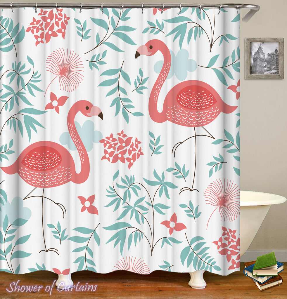 Refreshing Flamingos Shower Curtain
