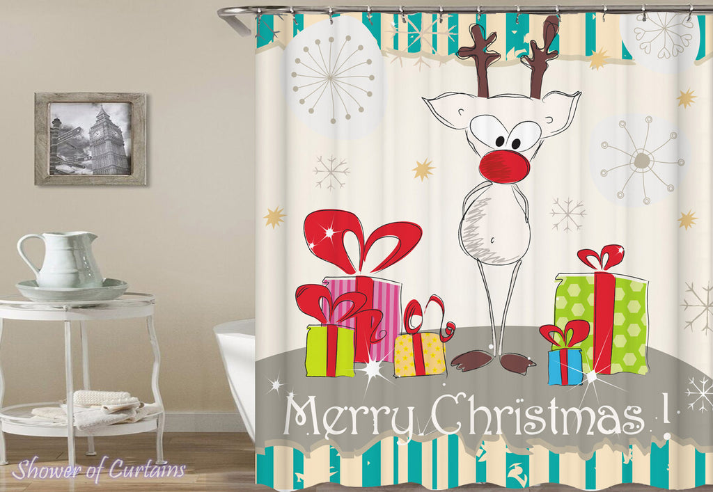 Reindeer Shower Curtain - Guarding The Presents Drawing - Christmas Bath Mat