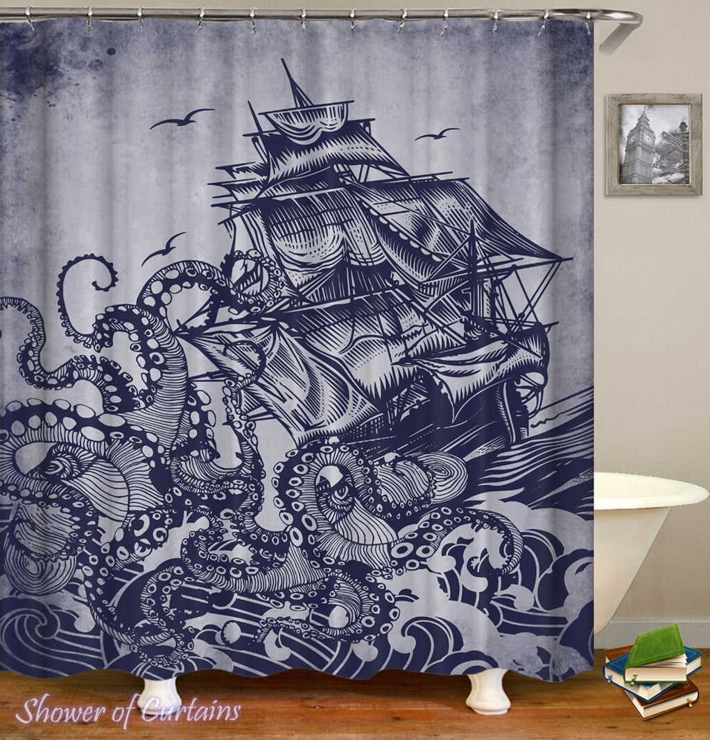 Release The Kraken - Shower Curtains theme