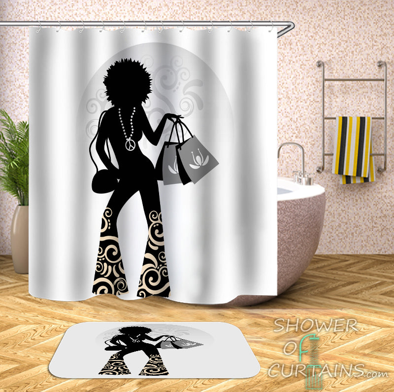 Retro Shower Curtain Of Chic Lady