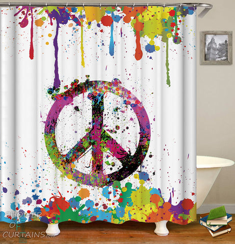Riot Of Colors Peace Shower Curtain - Colorful Bathroom Decor