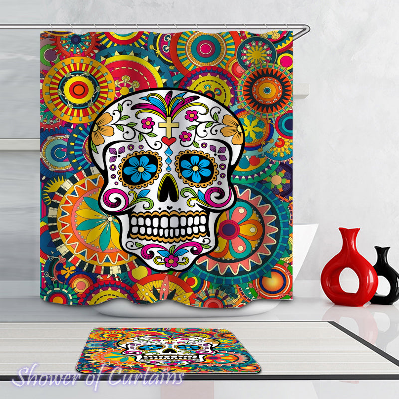 Riot Of Colors Skull shower curtain