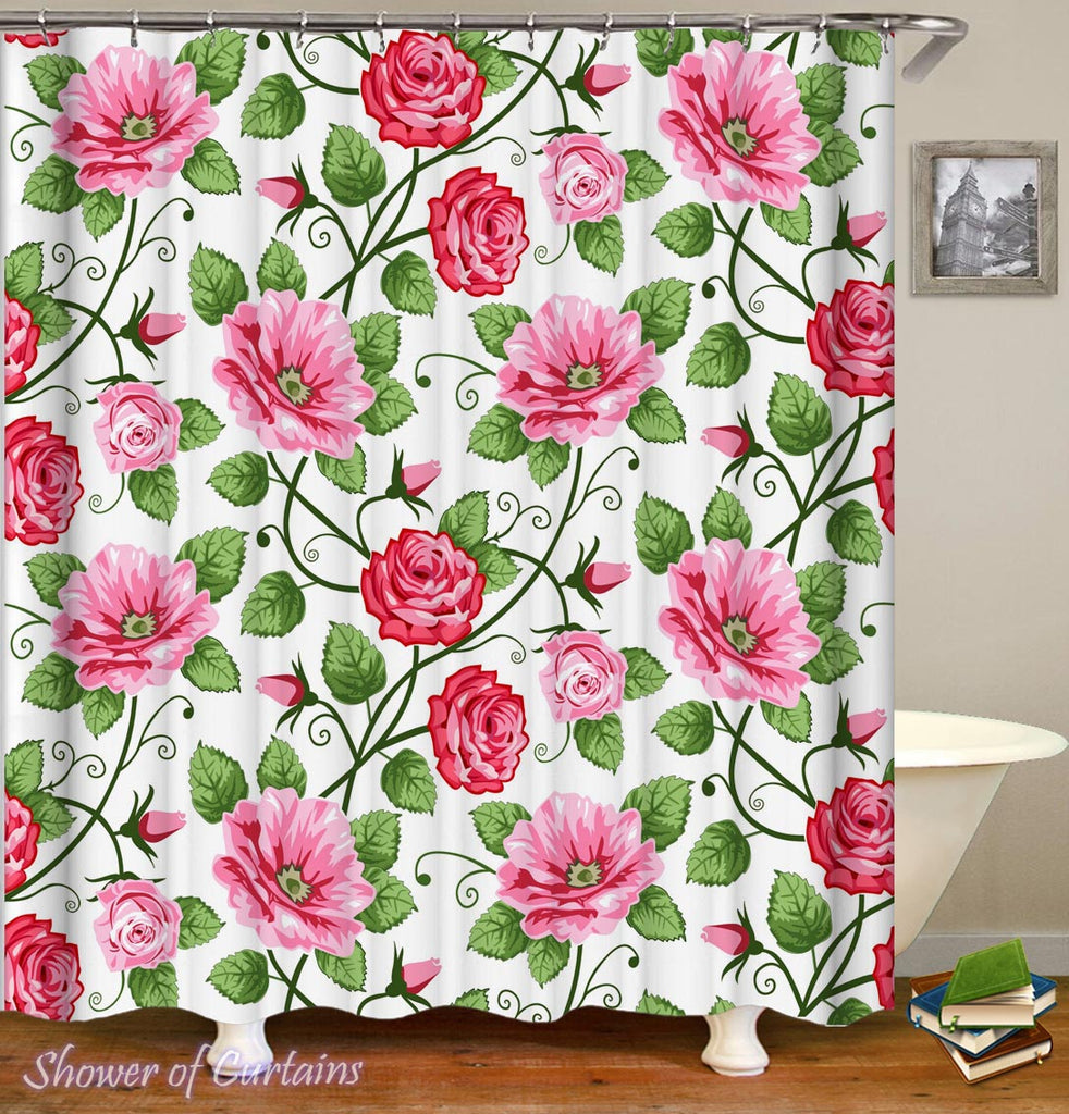 Roses Shower Curtain - Pink Flowers Bathroom
