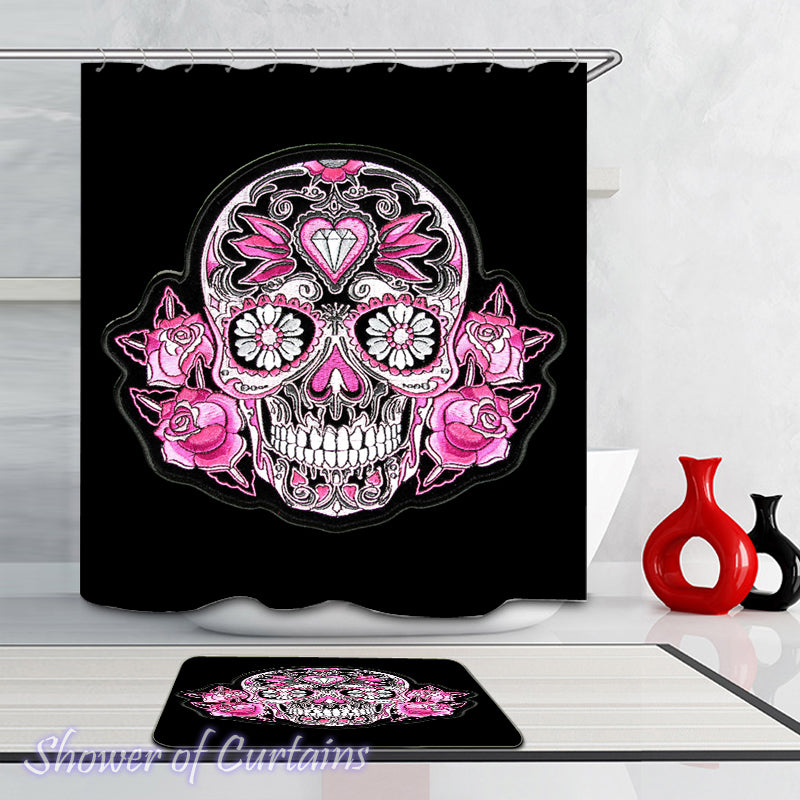 Rosy Skull shower curtain