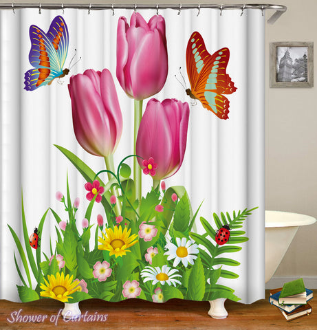 Rosy Tulips - floral shower curtain theme