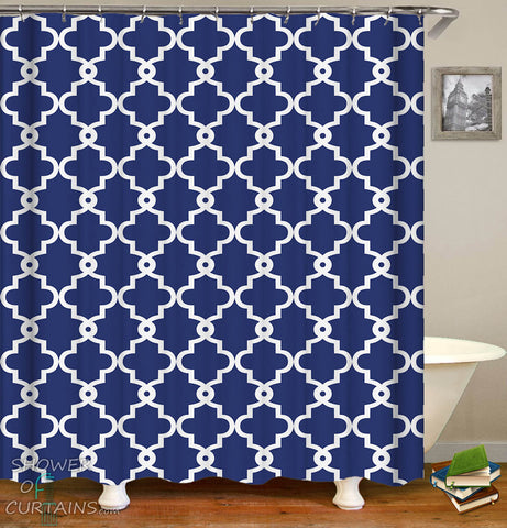 Royal Blue Moroccan Shower Curtain
