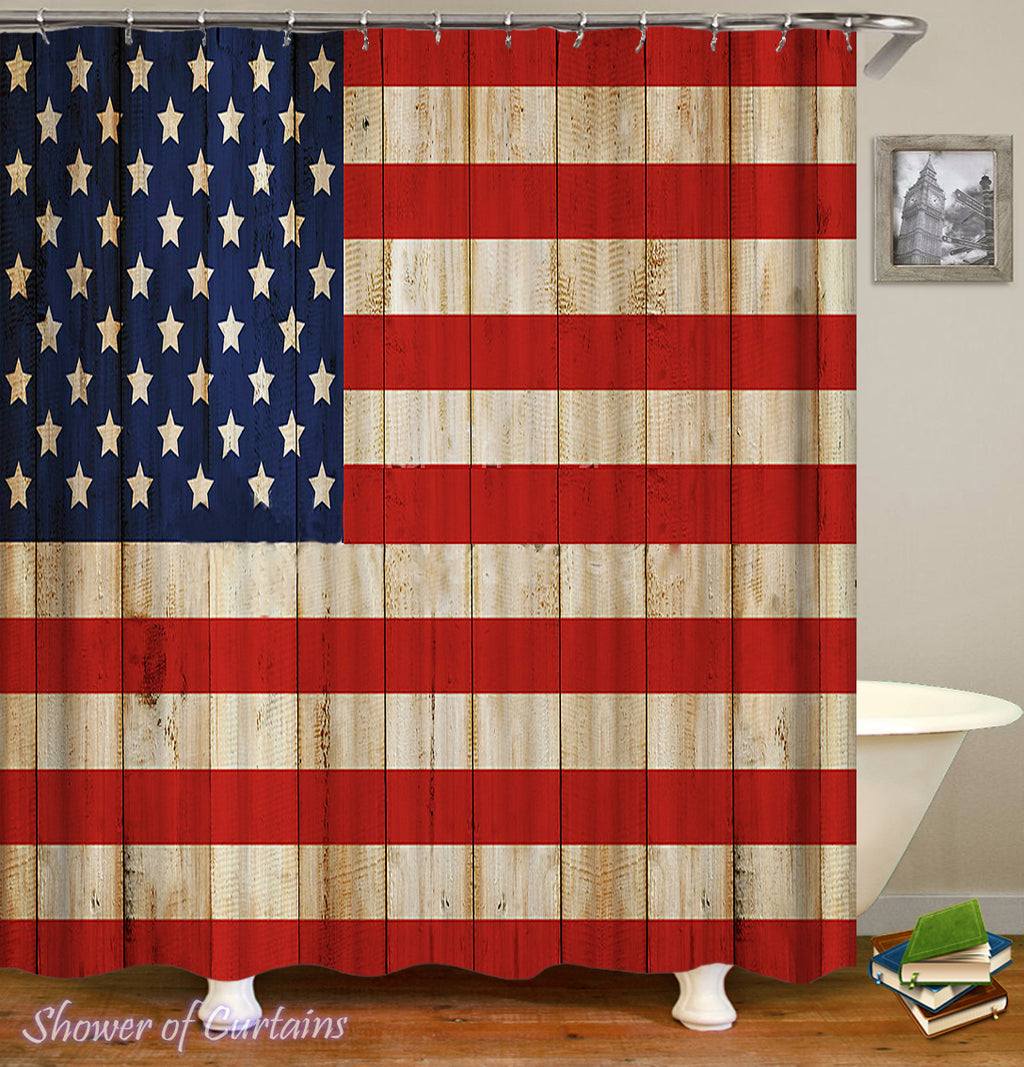 Rustic American Flag Shower Curtain