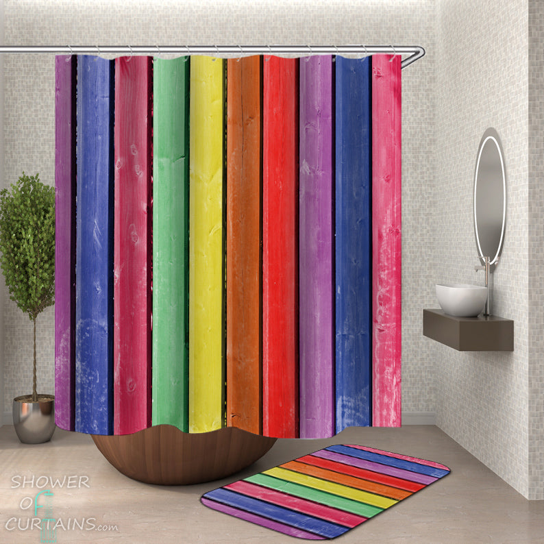 Rustic Rainbow Shower Curtain