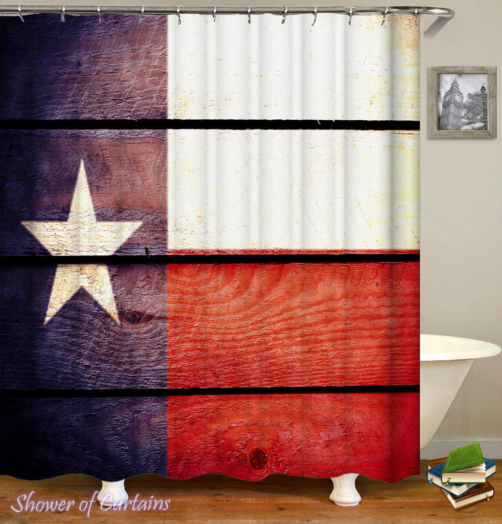 Texas Flag Shower Curtain Rustic Look