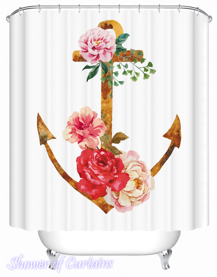 Rusty And Floral Anchor Shower Curtain