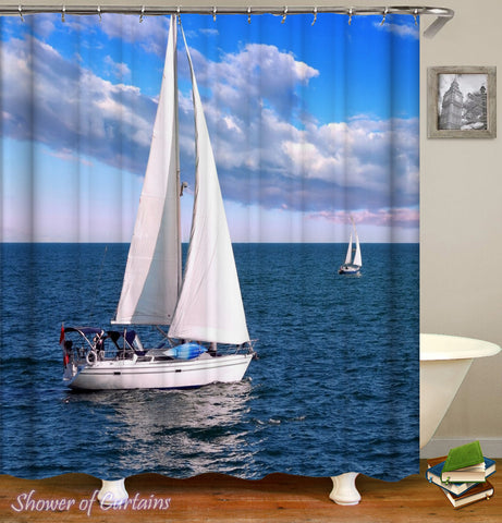 Sailboat Shower Curtain At Open Sea - Nautical Shower Curtains
