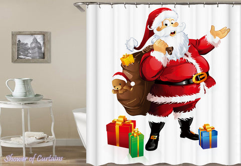 Santa Claus Shower Curtain - Happy Santa Holding A Bag Full With Presents