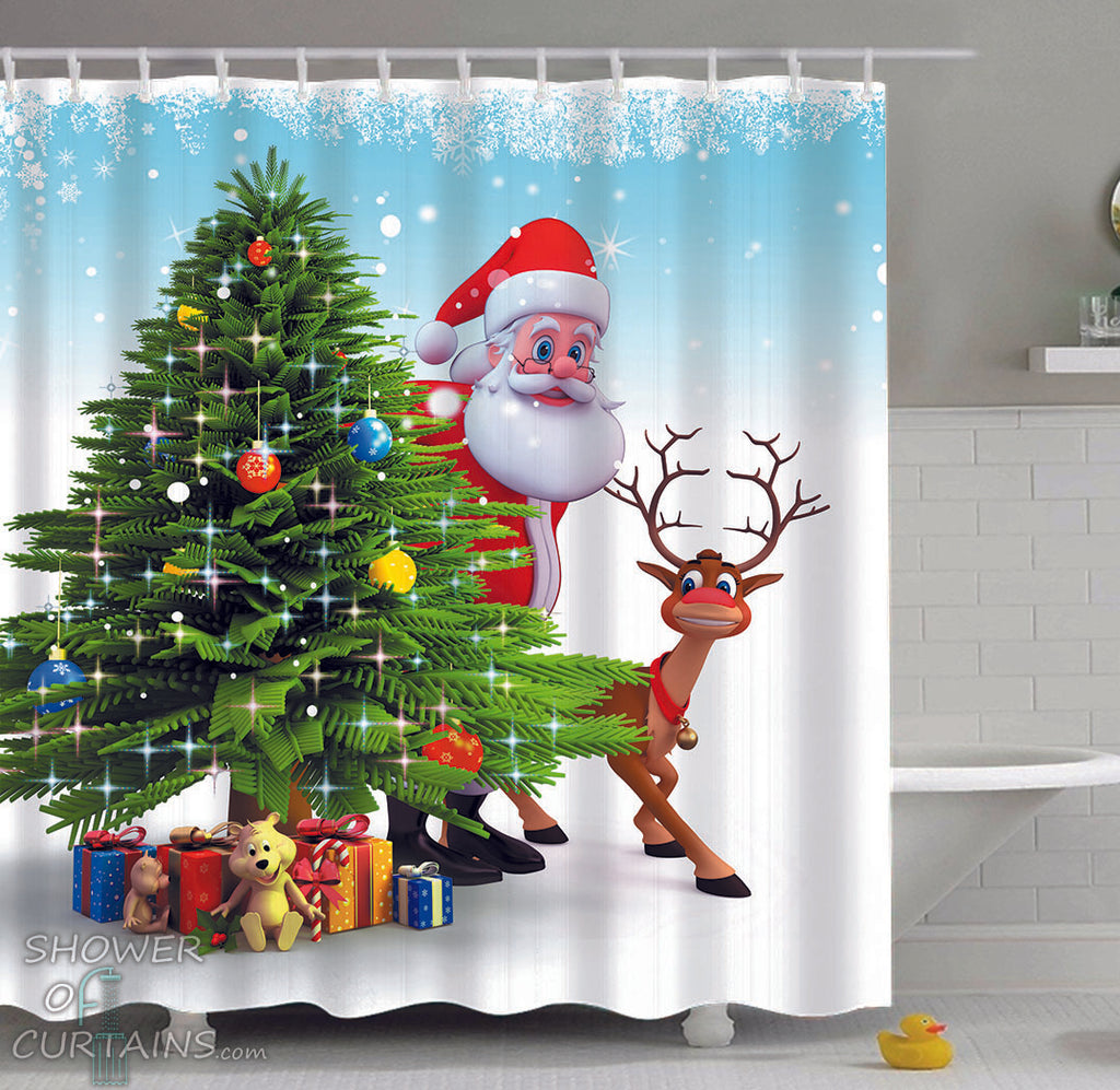 Santa Claus Shower Curtain - Santa And Reindeer Sneaking Out - Christmas Bathroom Decor
