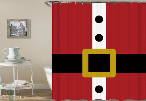 Santa Claus Shower Curtain of Santa Claus' Belt