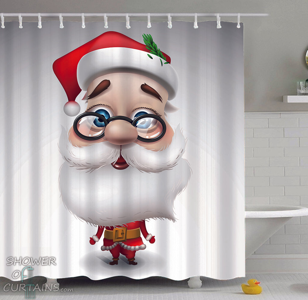 Santa Claus Shower Curtain with Santa Cartoon