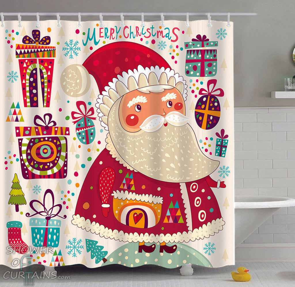 Santa Shower Curtain of Colorful Santa Claus