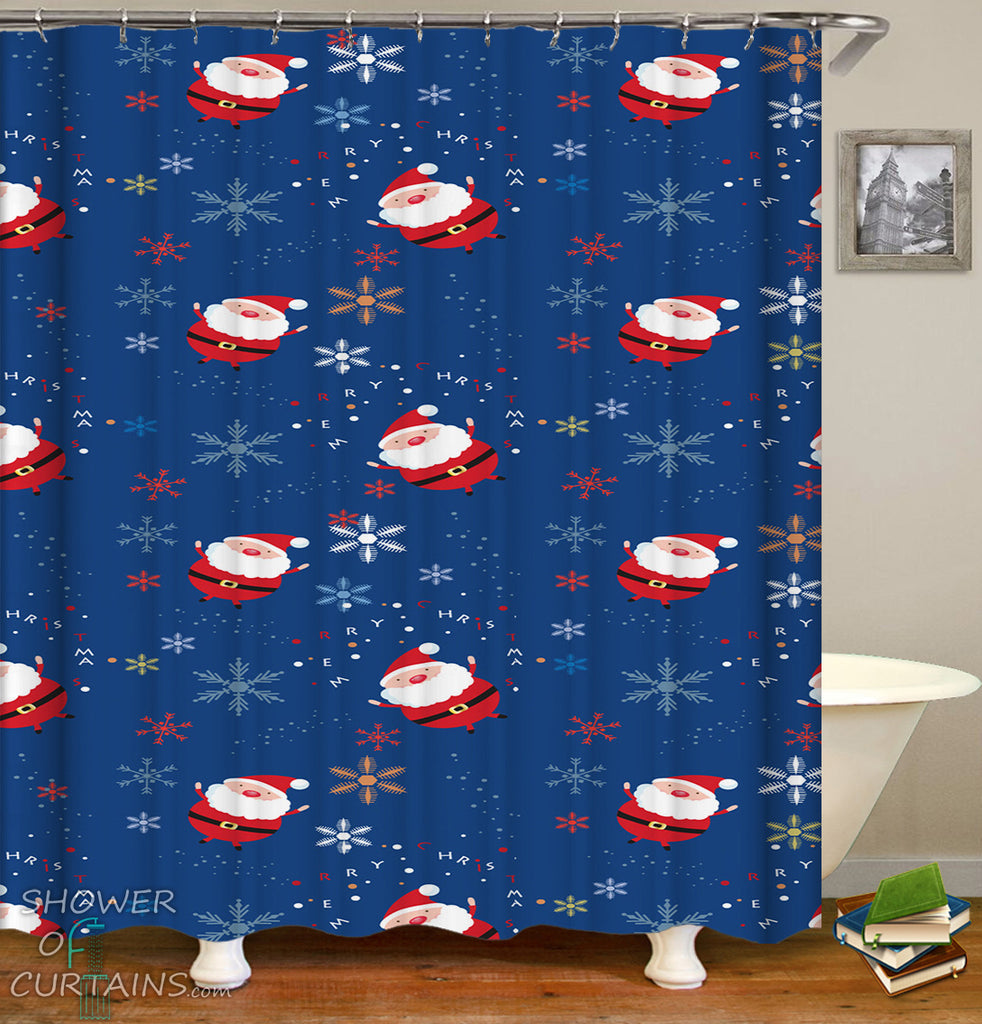 Santa Shower Curtain of Santa And Snow Pattern