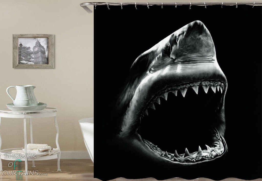 Scary Shower Curtains - Frighten Ghost Shark