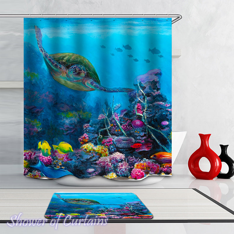 Sea Turtle Swimming With Corals Shower curtains theme