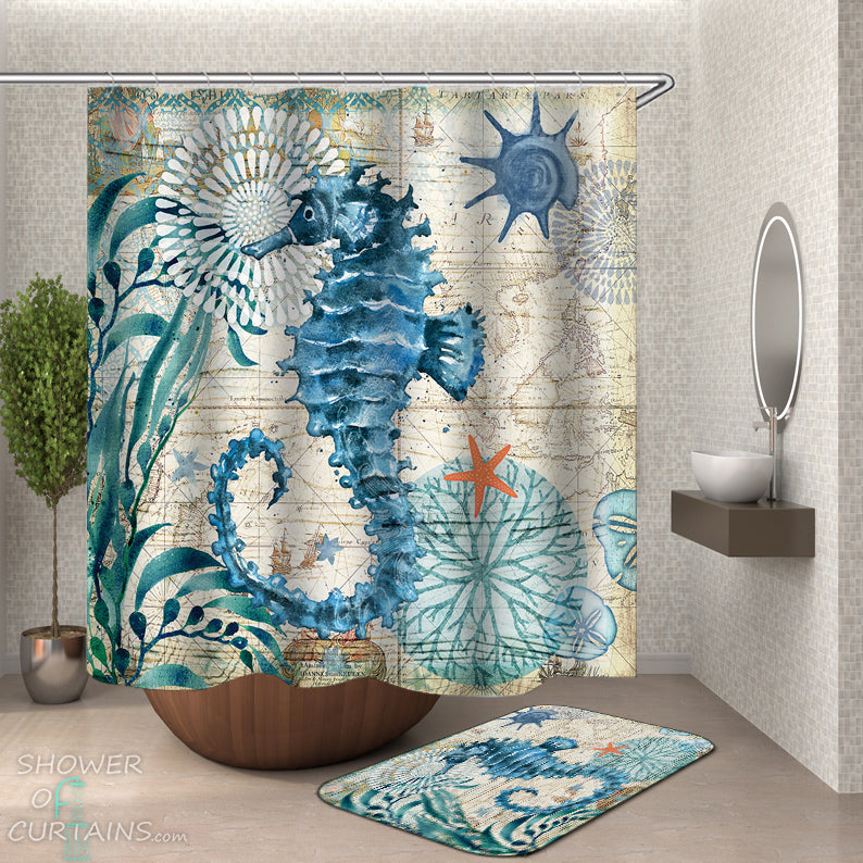 Seahorse Shower Curtain - Vintage Map Seahorse