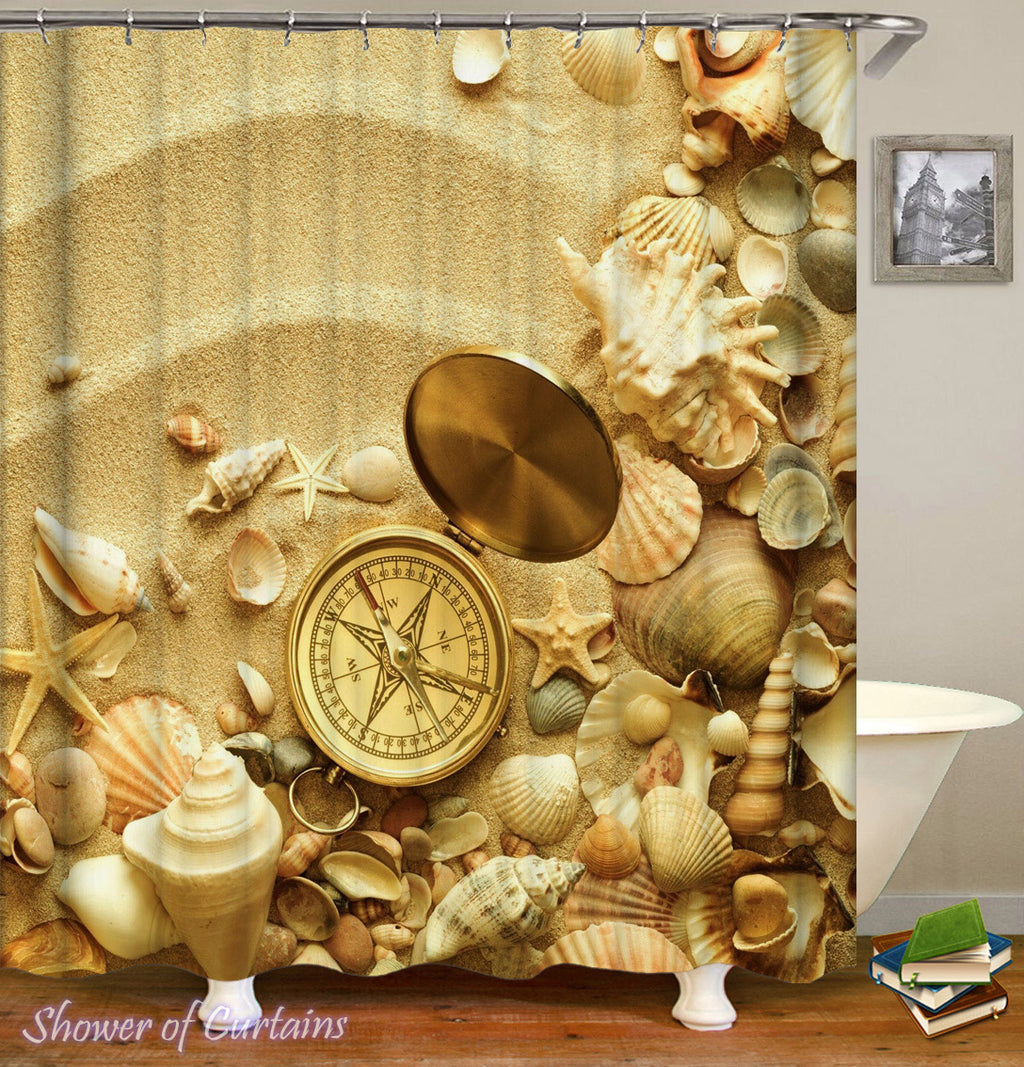 Seashell Shower Curtain of Shells And Compass On The Beach Themed Shower Curtains