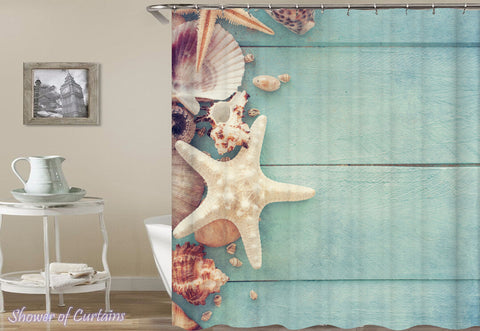 Seashells And Starfish On The Blue Deck - Shower Curtains Design