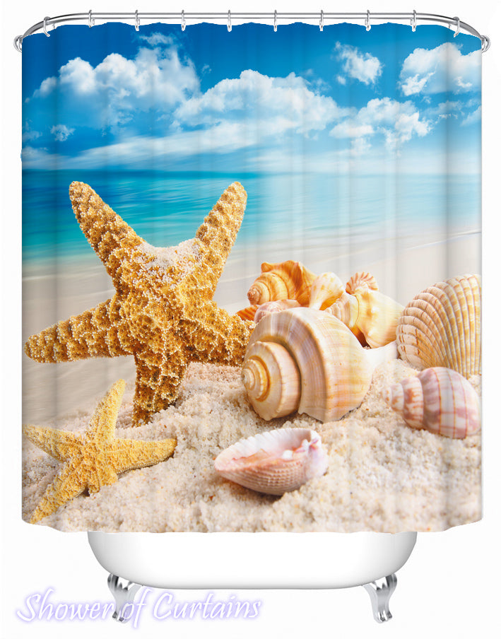 Seashells At The Beach Shower Curtains Theme