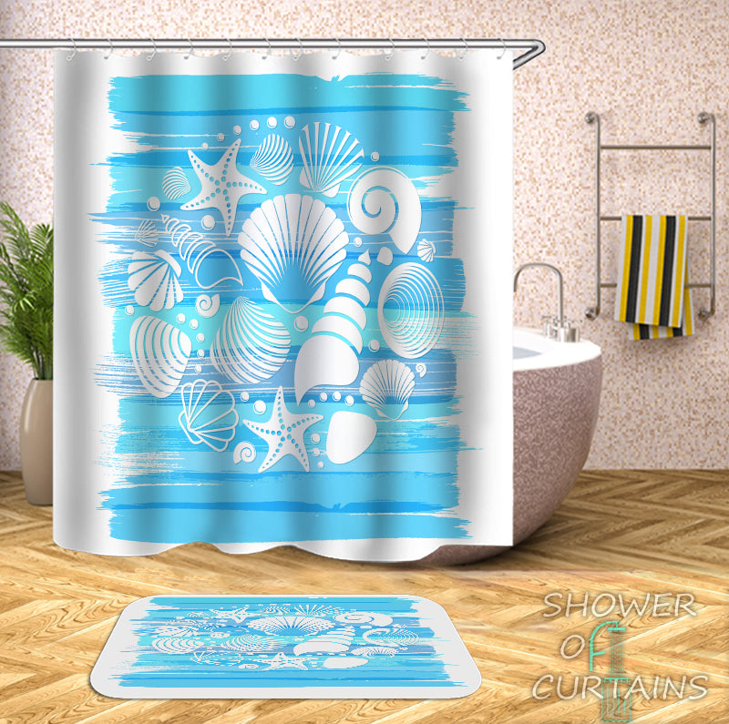 Seashells Mix Over The Blue Shower Curtain