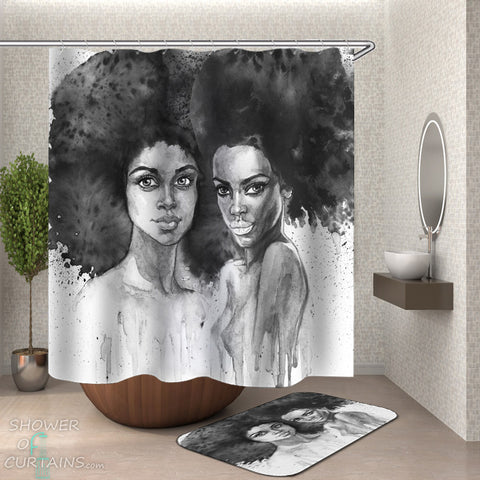 Sexy African American Woman Shower Curtain - Art Painting Beautiful African Girls