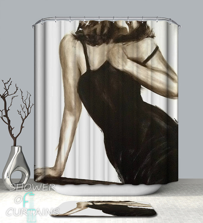 Sexy Shower Curtain - Sexy Black Dress Lady