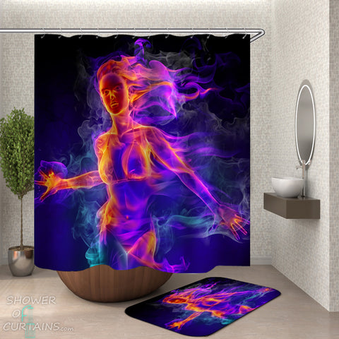 Sexy Shower Curtain of Sexy Flames Chic