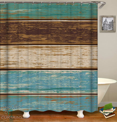 Shabby Chic Wooden Deck Shower Curtain - Nautical Themed Bathroom
