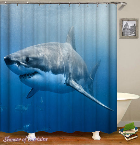 Shark Shower Curtain - Great White Shark #2