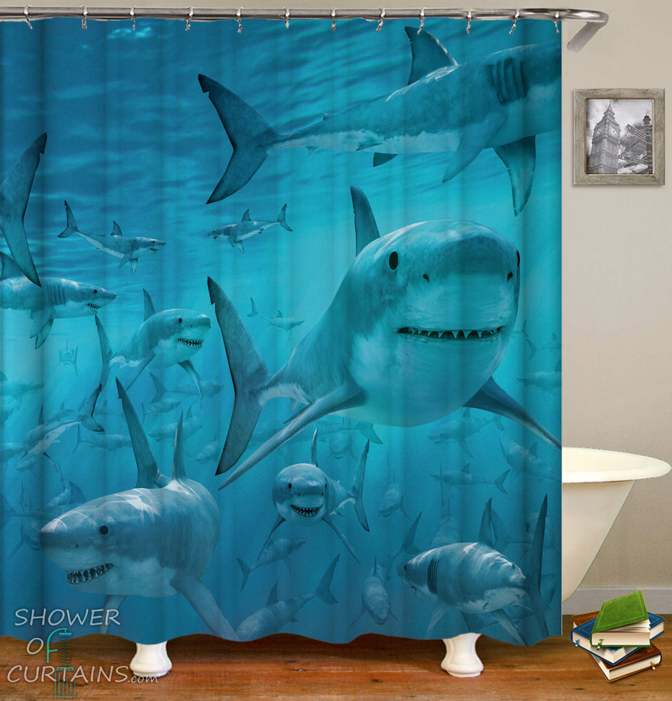Sharks Shower Curtain - Nautical Bathroom Decor