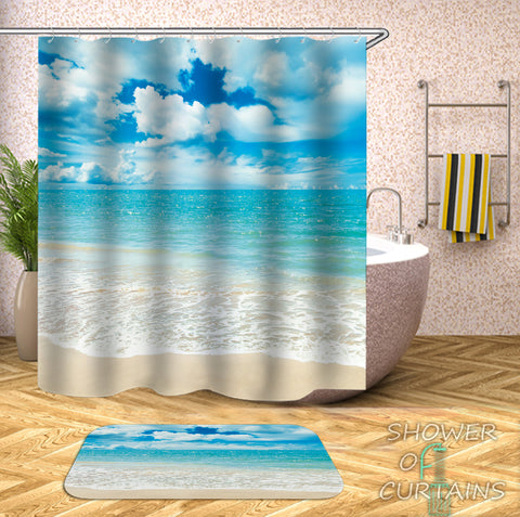 Sheep Clouds At The Beach Shower Curtain