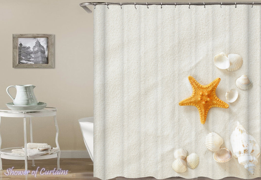 Shells On Beach White Sand - Costal shower curtains theme