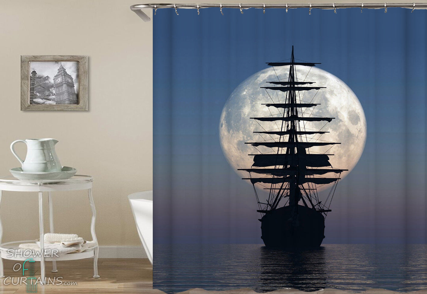 Ship Shower Curtain Of Pirate Over The Moon