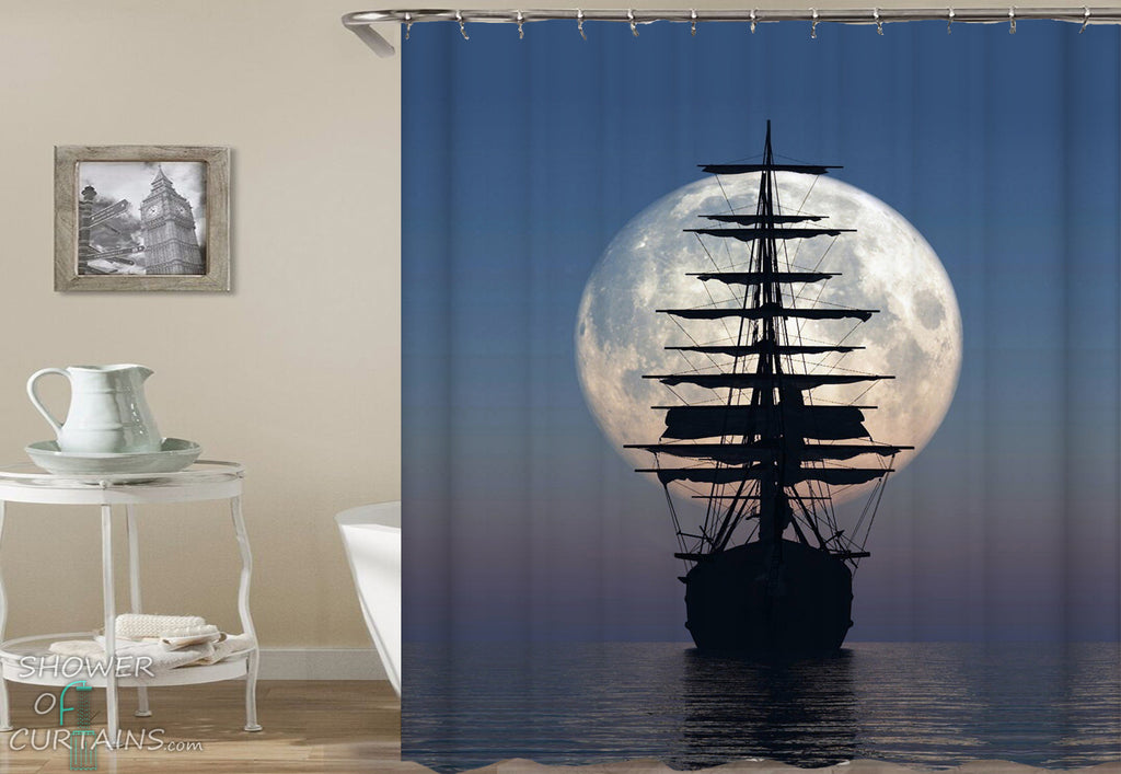 Ship Shower Curtain of Pirate Ship Over The Moon