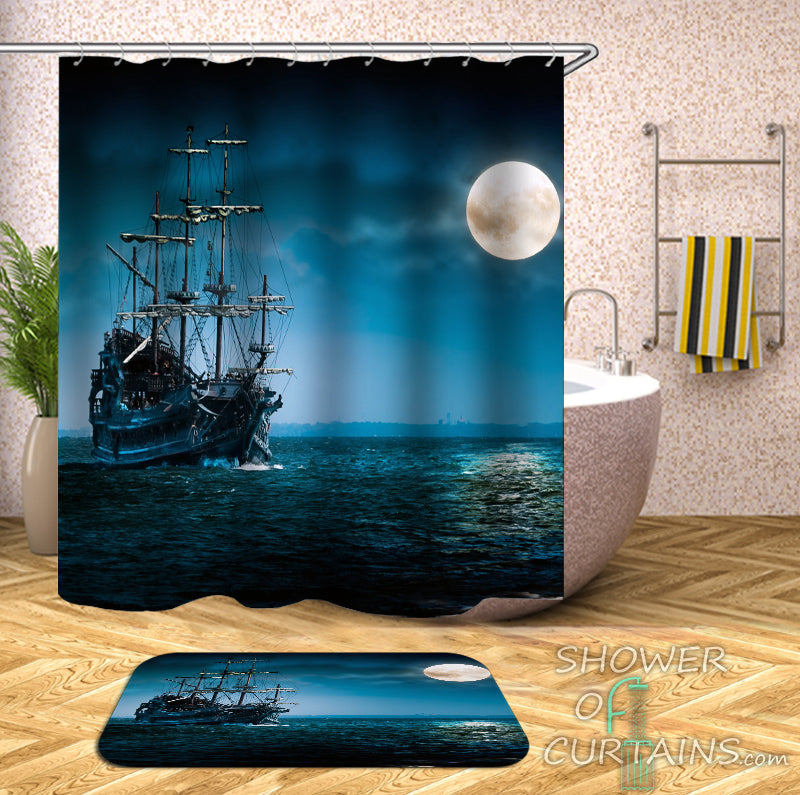 Ship Shower Curtain of Shades Of Blue Ship